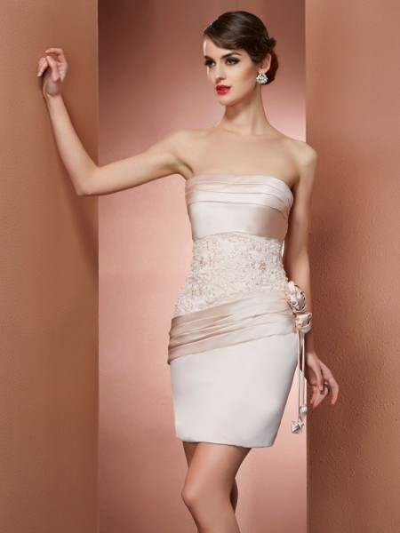 Sheath/Column Strapless Sleeveless Short/Mini Hand-Made Flower Satin Dresses