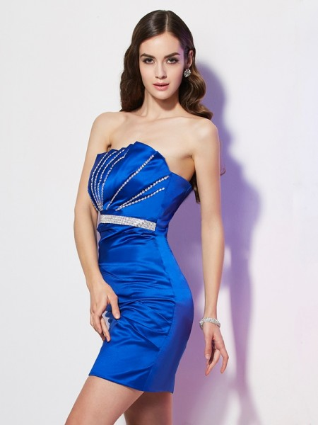 Sheath/Column Sleeveless Strapless Short/Mini Beading Satin Dresses