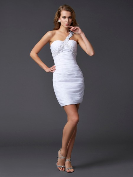 Sheath/Column One-Shoulder Sleeveless Short/Mini Applique Chiffon Dresses