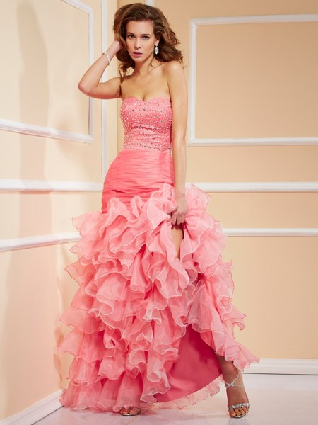 Trumpet/Mermaid Sleeveless Sweetheart Asymmetrical Ruffles Organza Dresses