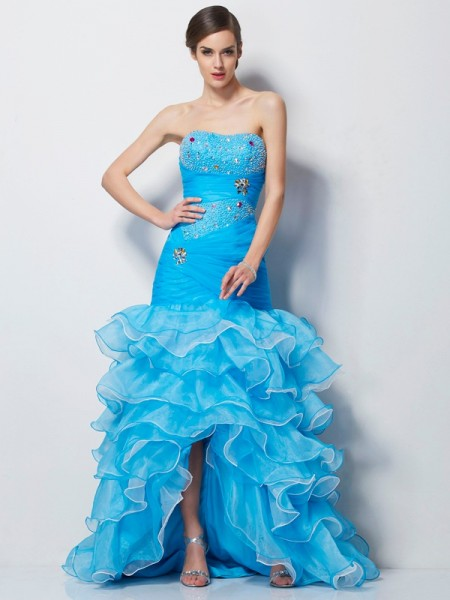 Trumpet/Mermaid Sweetheart Sleeveless Asymmetrical Beading Tulle Dresses
