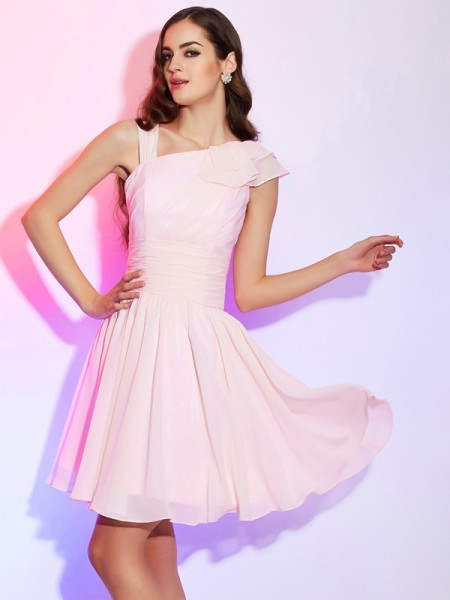 A-Line/Princess Sleeveless Short/Mini Pleats Chiffon Dresses