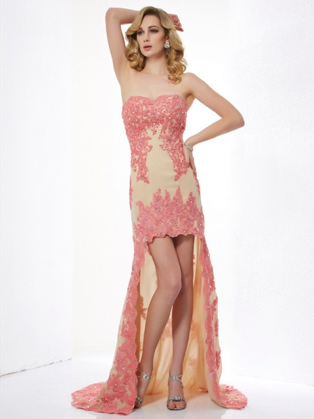 A-Line/Princess Sweetheart Sleeveless Asymmetrical Applique Lace Dresses