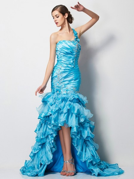 Trumpet/Mermaid Sleeveless One-Shoulder Asymmetrical Beading Taffeta Dresses