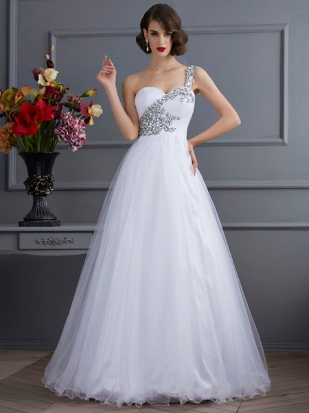 Ball Gown Sleeveless One-Shoulder Floor-Length Applique Elastic Woven Satin Dresses