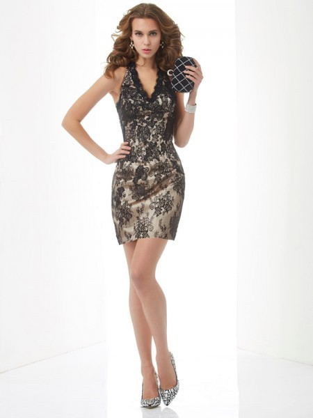 Sheath/Column Halter Sleeveless Short/Mini Lace Lace Dresses