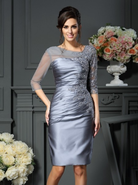 Sheath/Column Scoop 1/2 Sleeves Knee-Length Beading Satin Mother of the Bride Dresses