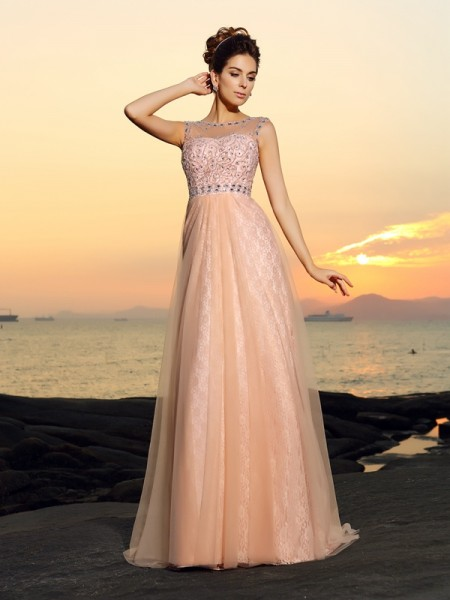 A-Line/Princess Sleeveless Bateau Floor-Length Lace Chiffon Dresses