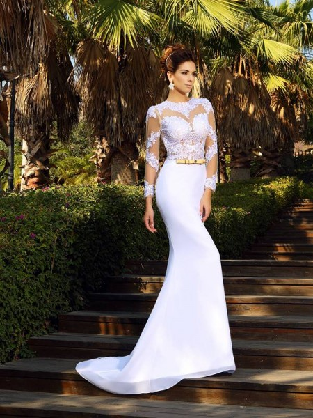 Sheath/Column Long Sleeves Scoop Court Train Applique Satin Wedding Dresses