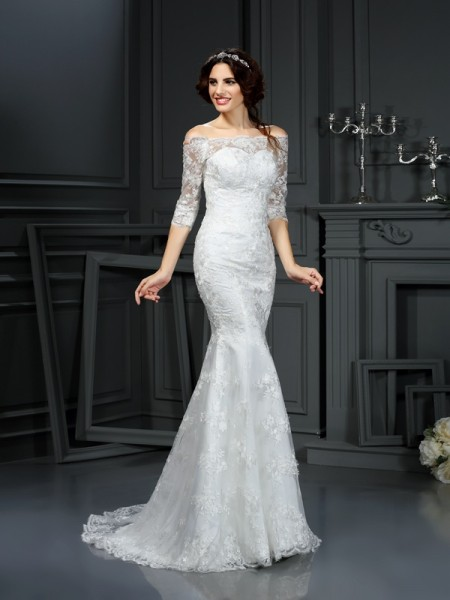 Sheath/Column Off-the-Shoulder 1/2 Sleeves Sweep/Brush Train Lace Lace Wedding Dresses