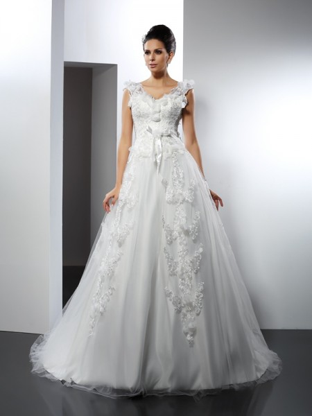 A-Line/Princess Straps Sleeveless Cathedral Train Lace Satin Wedding Dresses