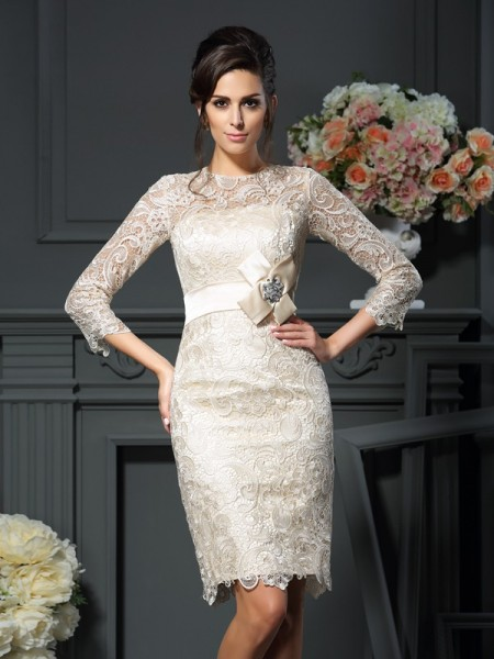 Sheath/Column 3/4 Sleeves Scoop Short/Mini Bowknot Lace Mother of the Bride Dresses