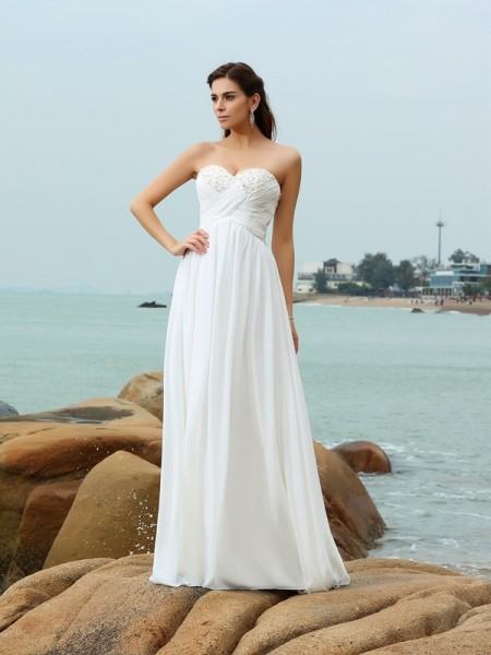 A-Line/Princess Sweetheart Sleeveless Sweep/Brush Train Beading Chiffon Wedding Dresses