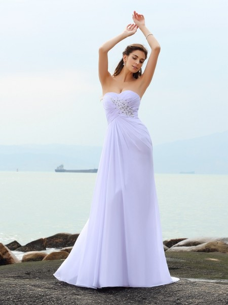 Sheath/Column Sleeveless Sweetheart Chapel Train Beading Chiffon Wedding Dresses