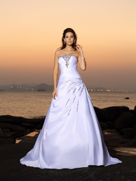A-Line/Princess Sleeveless Strapless Chapel Train Beading Satin Wedding Dresses