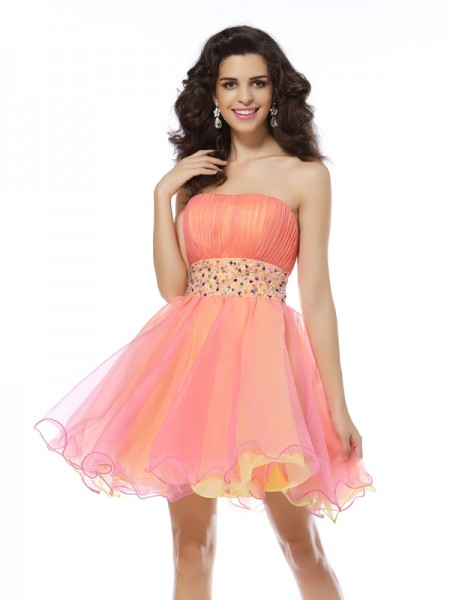 A-Line/Princess Strapless Sleeveless Short/Mini Beading Organza Dresses