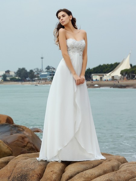 A-Line/Princess Sweetheart Sleeveless Floor-Length Beading Chiffon Wedding Dresses