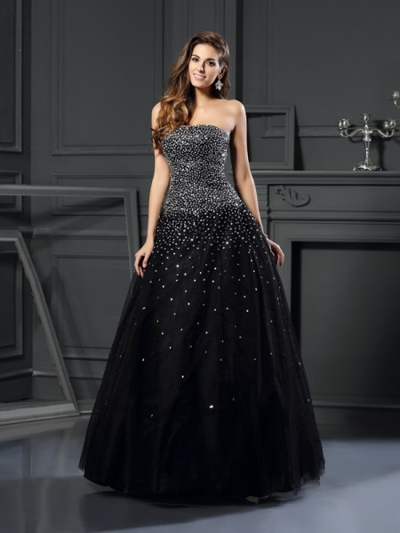 Ball Gown Strapless Sleeveless Floor-Length Beading Satin Dresses