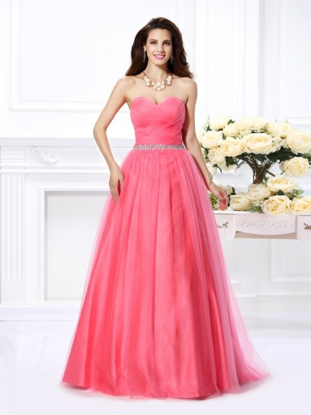 Ball Gown Sweetheart Sleeveless Floor-Length Pleats Satin Dresses
