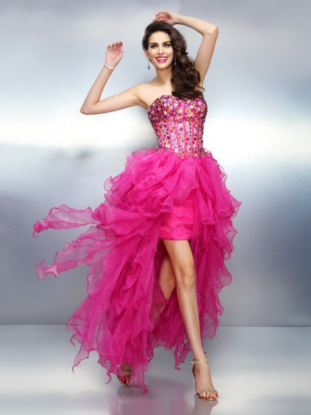 A-Line/Princess Sweetheart Sleeveless Asymmetrical Rhinestone Organza Dresses
