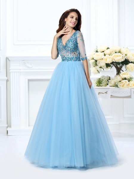 Ball Gown V-neck 1/2 Sleeves Floor-Length Beading Satin Dresses