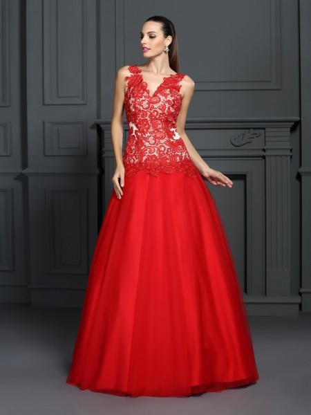 Ball Gown V-neck Sleeveless Floor-Length Lace Lace Dresses