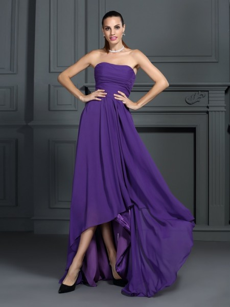 A-Line/Princess Strapless Sleeveless Asymmetrical Pleats Chiffon Dresses
