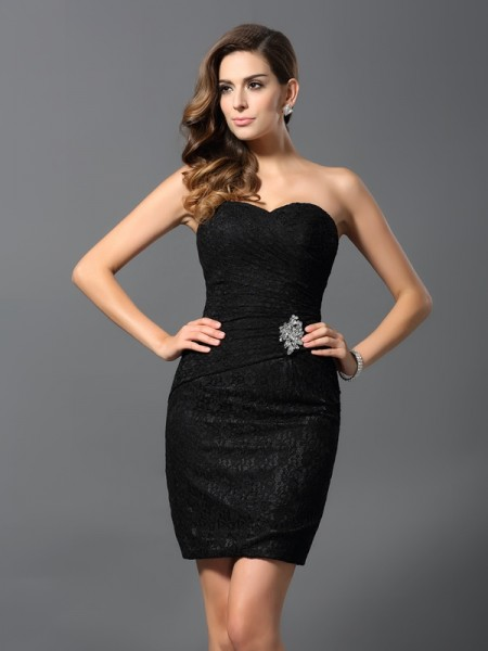 Sheath/Column Sweetheart Sleeveless Short/Mini Rhinestone Lace Dresses
