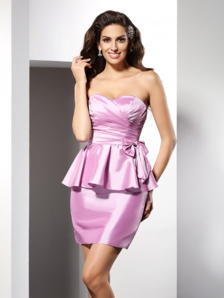 Sheath/Column Sleeveless Sweetheart Short/Mini Bowknot Taffeta Dresses