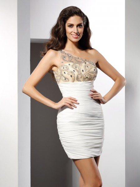 Sheath/Column Sleeveless One-Shoulder Short/Mini Beading Chiffon Dresses