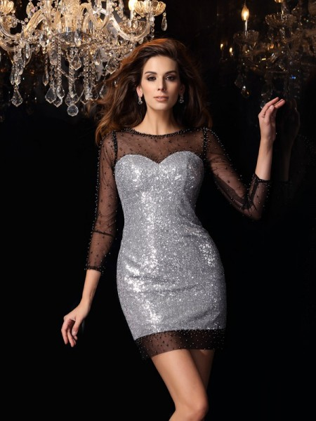 Sheath/Column 3/4 Sleeves Scoop Short/Mini Beading Sequins Dresses