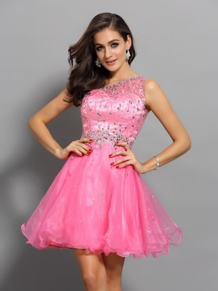 A-Line/Princess One-Shoulder Sleeveless Short/Mini Ruffles Organza Dresses