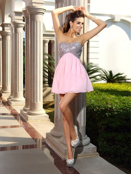 A-Line/Princess Sweetheart Sleeveless Short/Mini Sequin Chiffon Dresses