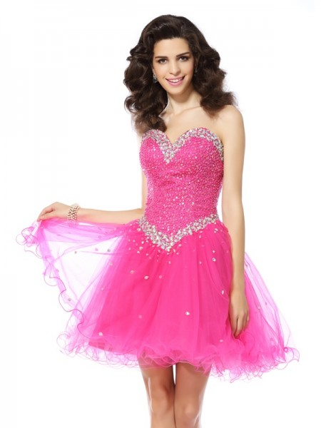 A-Line/Princess Sleeveless Sweetheart Short/Mini Beading Satin Dresses