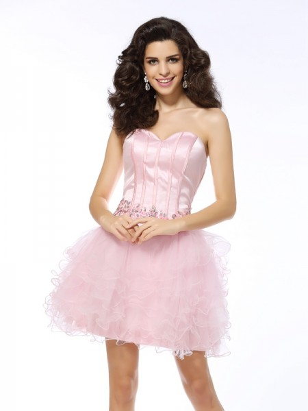 A-Line/Princess Sleeveless Sweetheart Short/Mini Ruffles Net Dresses