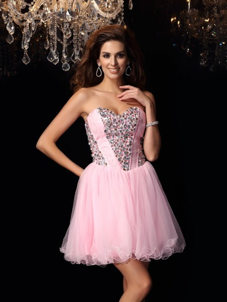 A-Line/Princess Sleeveless Sweetheart Short/Mini Ruffles Elastic Woven Satin Dresses