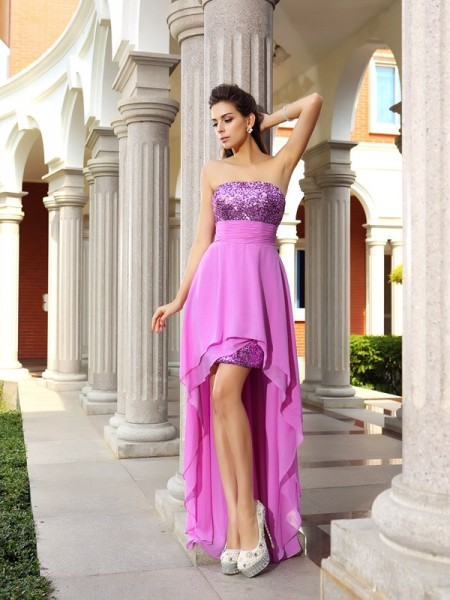 A-Line/Princess Strapless Sleeveless Asymmetrical Beading Chiffon Dresses