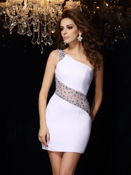Sheath/Column One-Shoulder Sleeveless Short/Mini Beading Chiffon Dresses