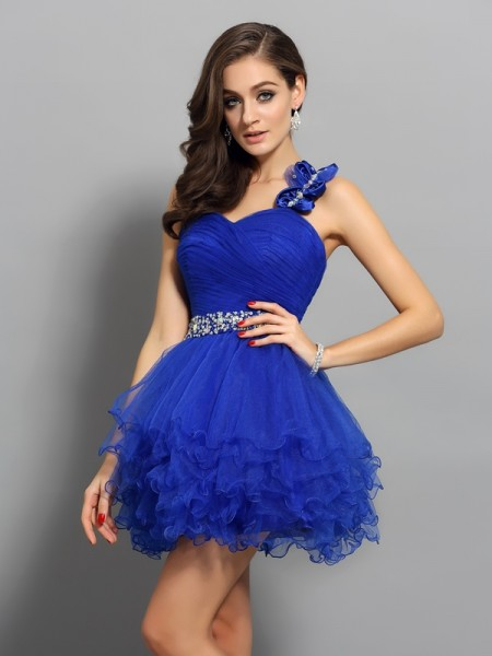 A-Line/Princess Sleeveless One-Shoulder Short/Mini Beading Organza Dresses