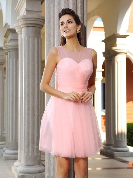 A-Line/Princess Sleeveless Scoop Short/Mini Beading Satin Dresses