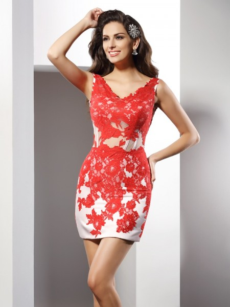 Sheath/Column V-neck Sleeveless Short/Mini Applique Satin Dresses