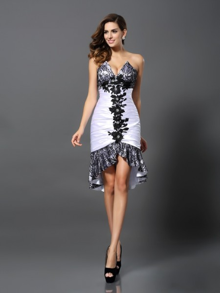 Sheath/Column Sweetheart Sleeveless Asymmetrical Lace Elastic Woven Satin Dresses
