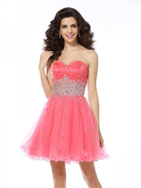 A-Line/Princess Sleeveless Sweetheart Short/Mini Beading Organza Dresses