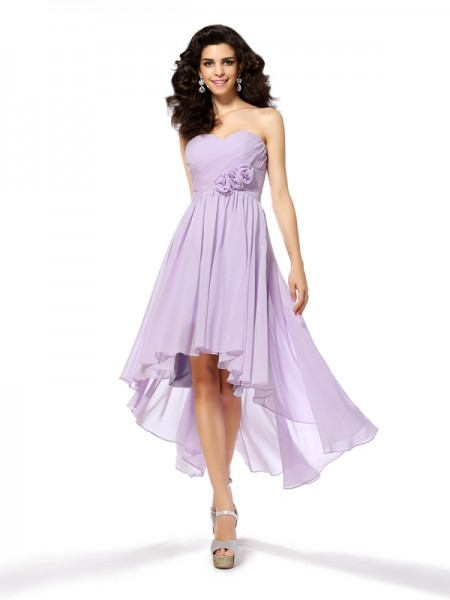 A-Line/Princess Sweetheart Sleeveless Asymmetrical Hand-Made Flower Chiffon Dresses