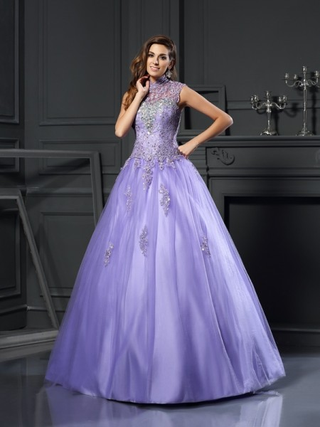Ball Gown High Neck Sleeveless Floor-Length Applique Net Dresses