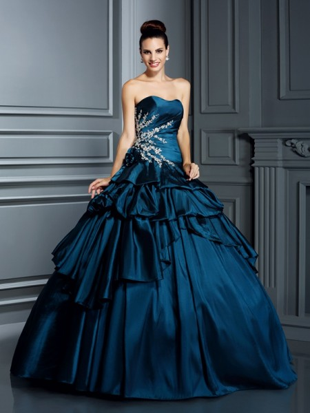 Ball Gown Strapless Sleeveless Floor-Length Beading Taffeta Dresses