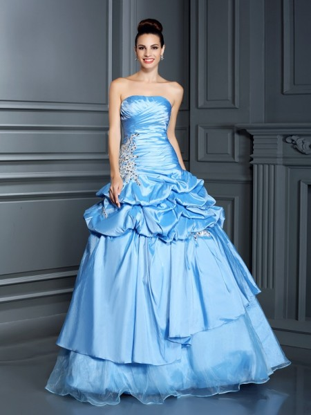 Ball Gown Sleeveless Sweetheart Floor-Length Ruffles Organza Dresses
