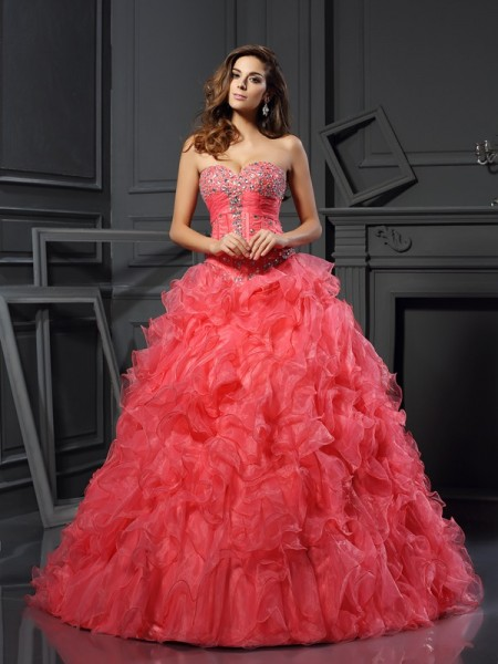 Ball Gown Sweetheart Sleeveless Floor-Length Ruffles Organza Dresses