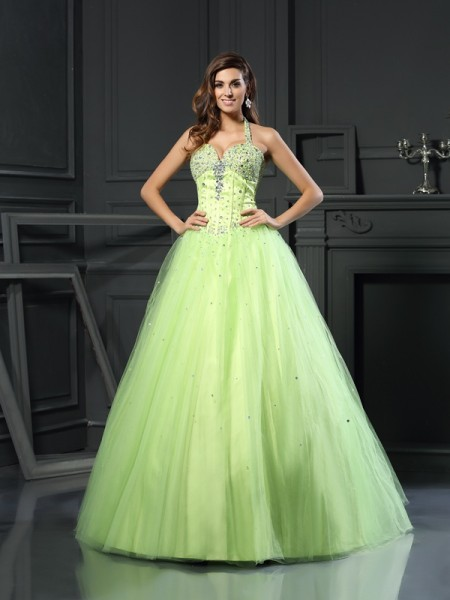 Ball Gown Sleeveless Halter Floor-Length Beading Satin Dresses