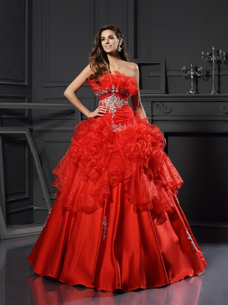 Ball Gown Sleeveless Strapless Floor-Length Ruffles Organza Dresses